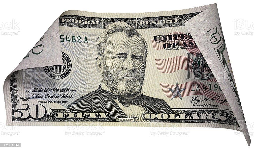Fifty Dollars Bill stock photo