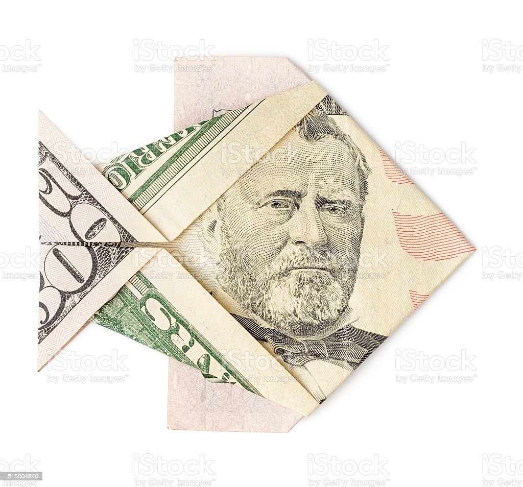 Fifty dollars origami fish isolated stock photo