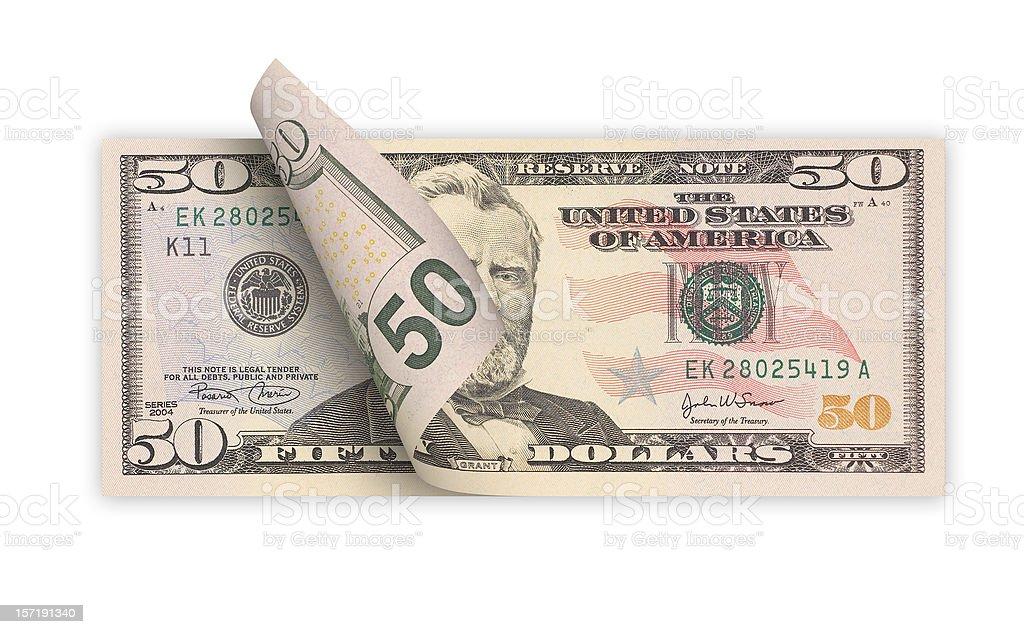 Fifty Dollars (isolated) stock photo