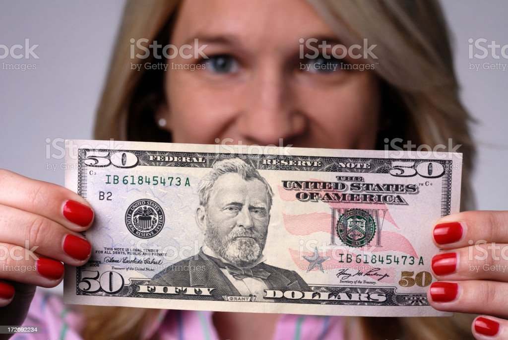 Fifty Dollars US Cash stock photo