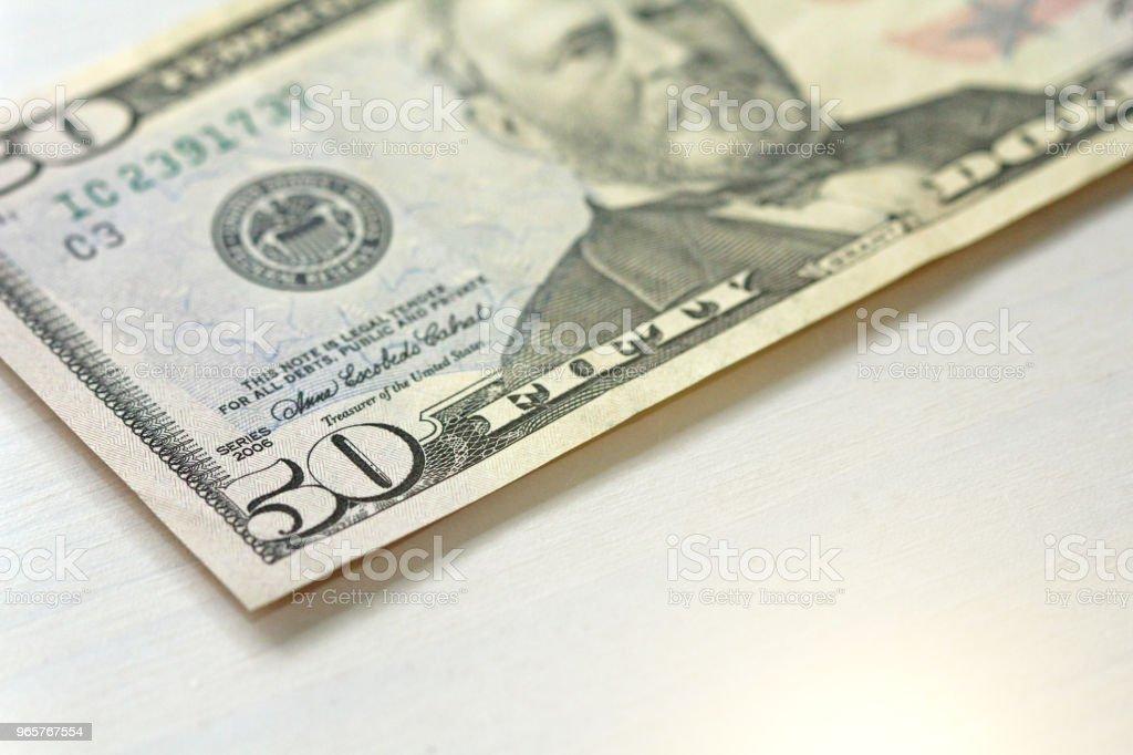 Vijftig dollar met een notitie. 50 dollar - Royalty-free Amerikaanse cultuur Stockfoto