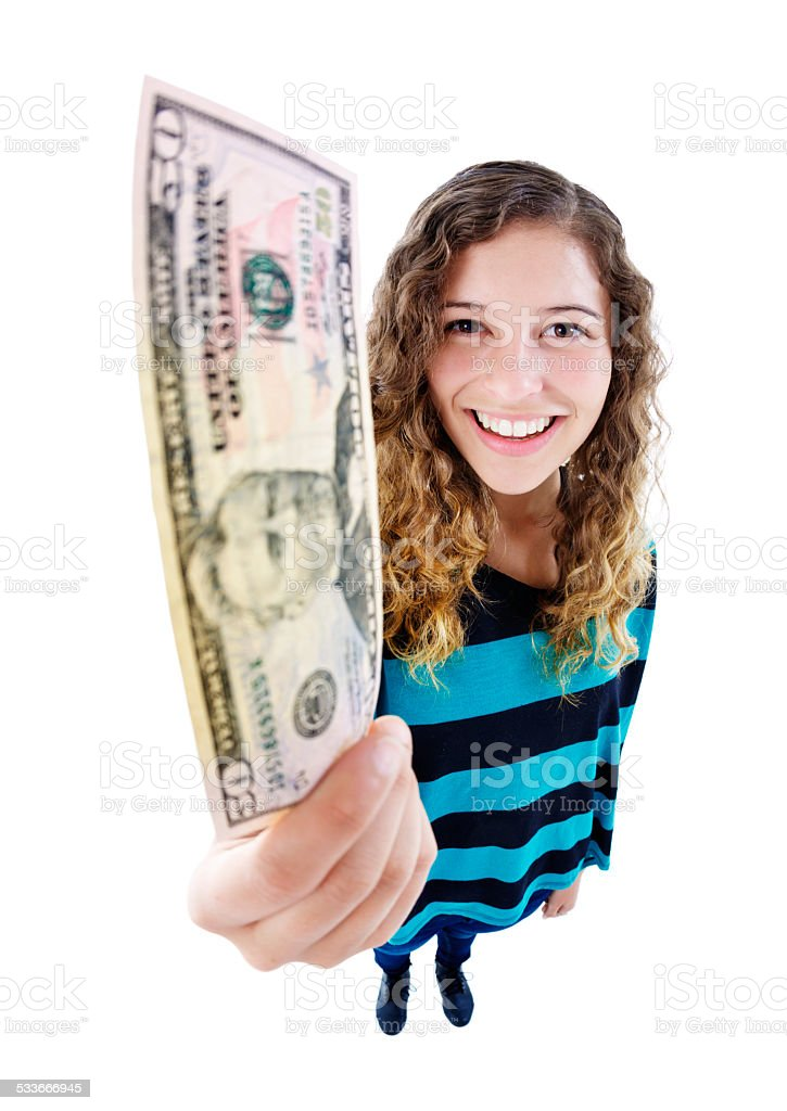 Fifty dollars, wow! Smiling young beauty holds up banknote stock photo