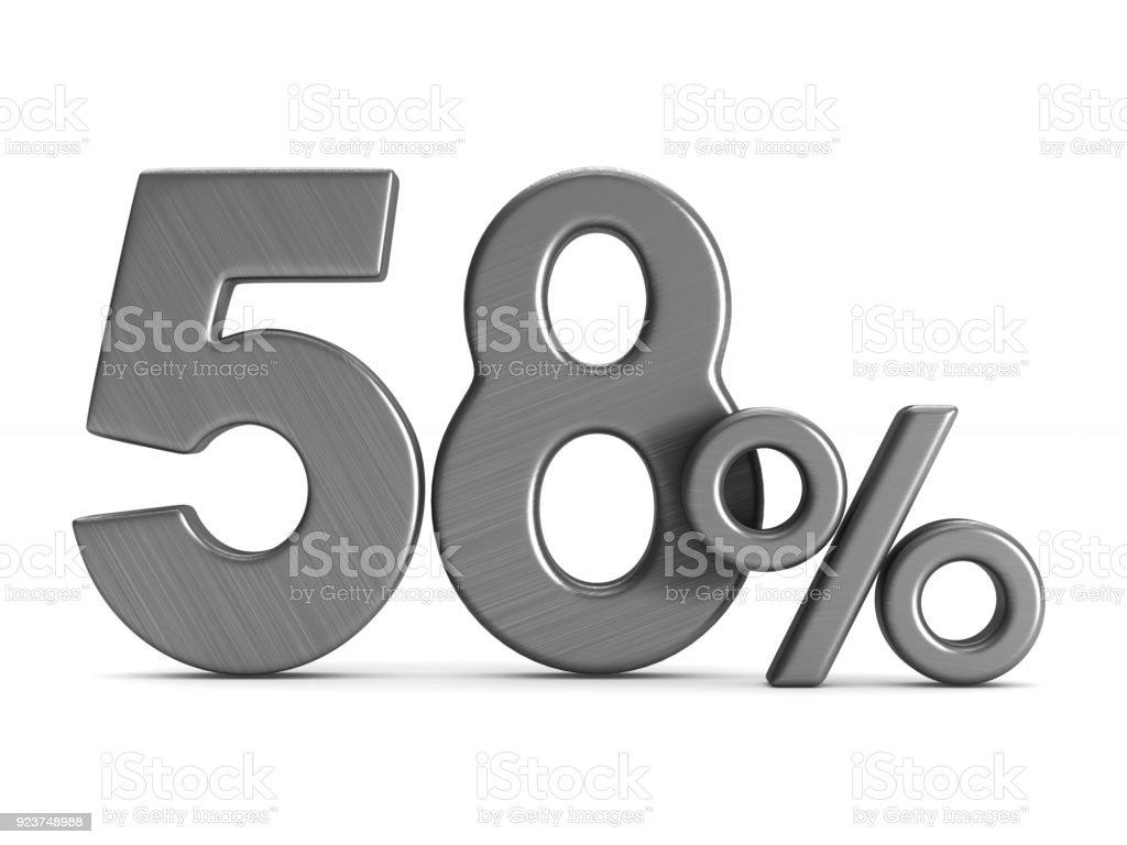 58 Prozent auf weißem Hintergrund. Isolierte 3D-Illustration – Foto