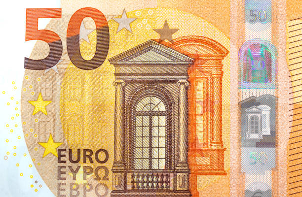 fifty euro bank notes with safety hologram European currency Germany bank notes fifty euro banknote stock pictures, royalty-free photos & images