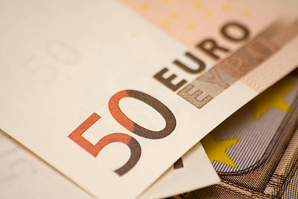 Fifty euro banknote close-up Fifty euro banknote close-up, shallow depth of filed fifty euro banknote stock pictures, royalty-free photos & images