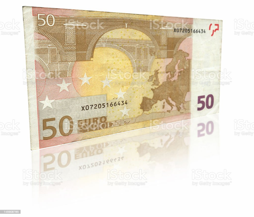 Fifty Euro banknote with reflection royalty-free stock photo