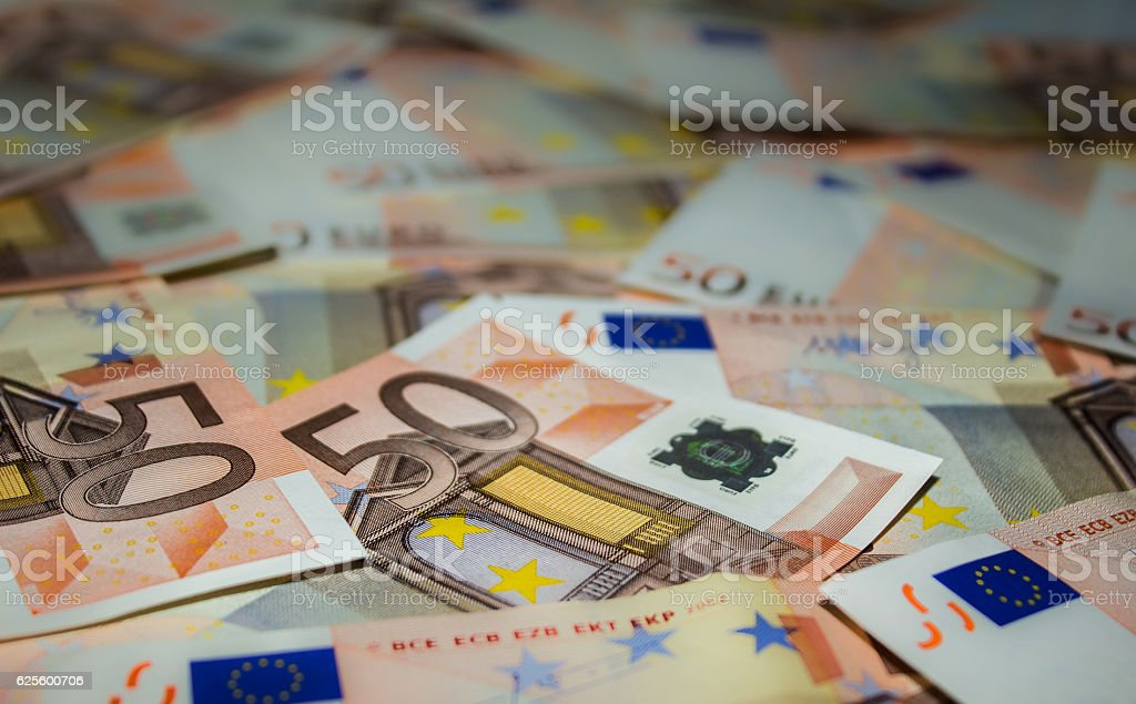 Fifty Euro banknotes stock photo