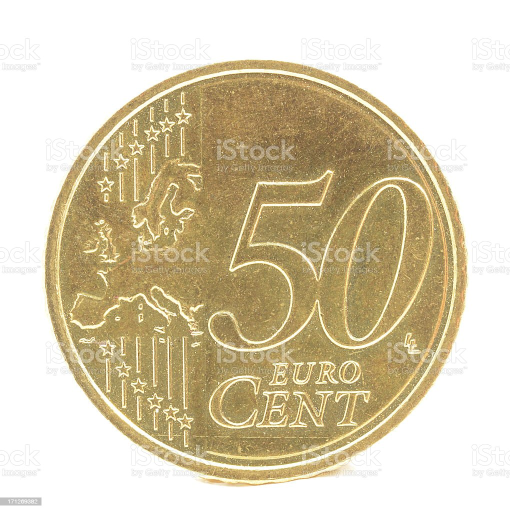Fifty euro cent coin on white background stock photo