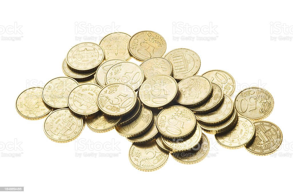Fifty Euro cent Coins stock photo