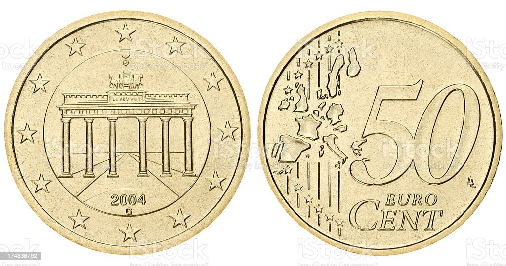 Fifty euro cents coin on white background stock photo