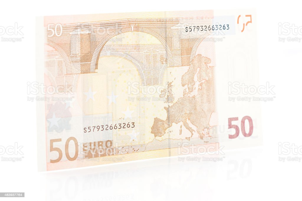 Fifty Euro Note - Back stock photo
