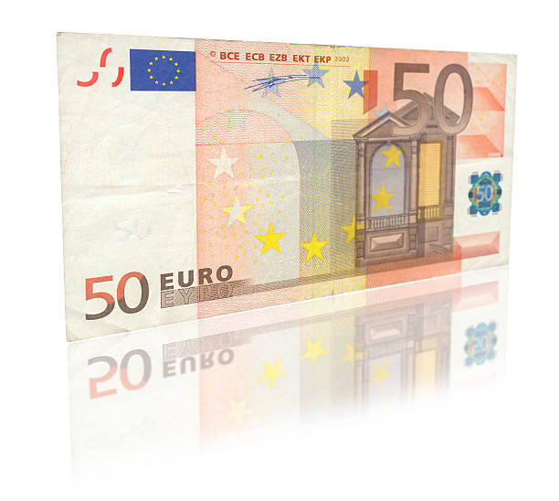 Fifty Euro with reflection close-up of 50 Euro banknote with reflection against white, see also: fifty euro banknote stock pictures, royalty-free photos & images