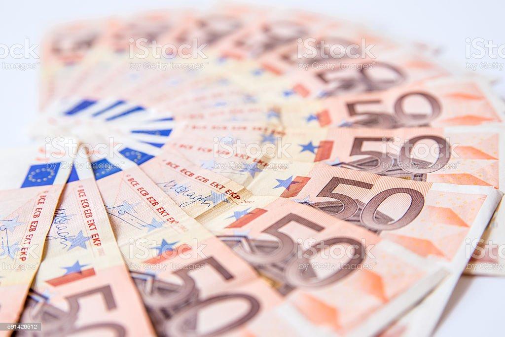 fifty euros banknote background on white background stock photo