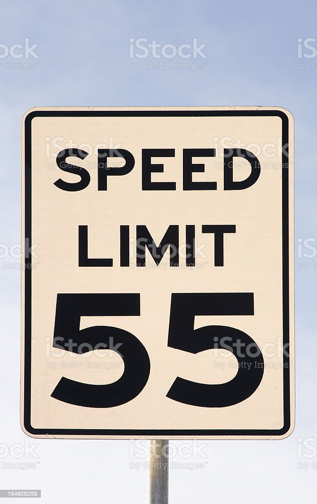 Fifty Five 55 Miles Per Hour Speed Limit Sign stock photo | iStock