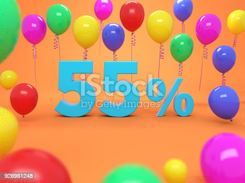 istock Fifty Five Percent Concept - 3D Rendered Image 926961248