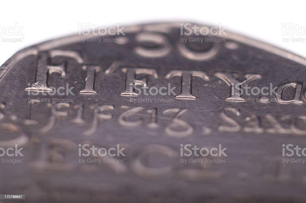 Fifty Pence Coin Shallow Focus stock photo