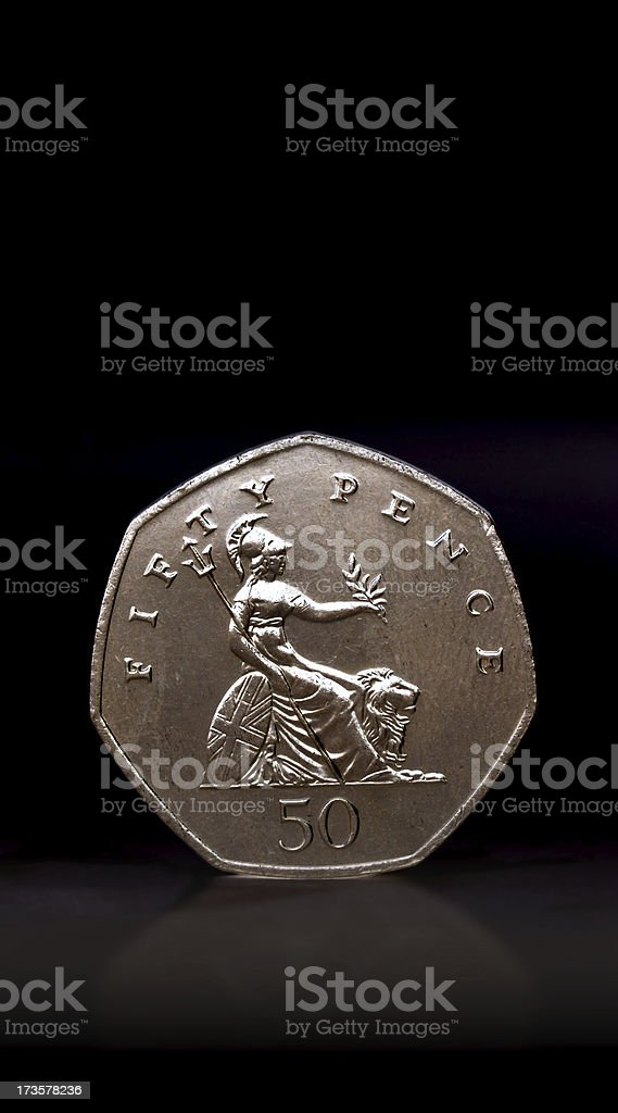 Fifty Pence Piece royalty-free stock photo