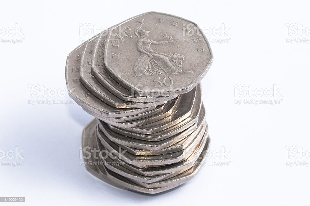 Fifty Pence Stack stock photo