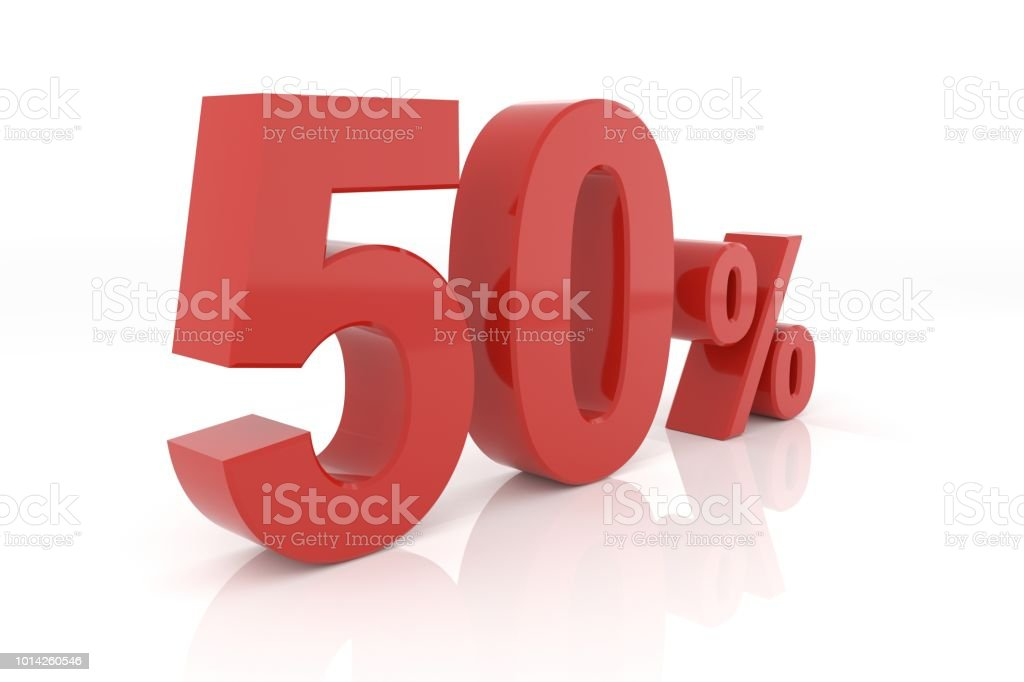 Fifty percent. 3D rendering. stock photo