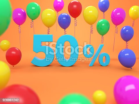 istock Fifty Percent Concept - 3D Rendered Image 926961242