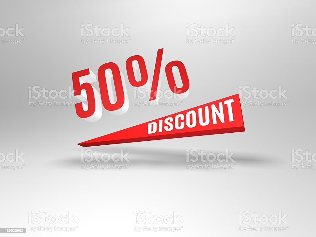 Fifty percent discount symbol. stock photo