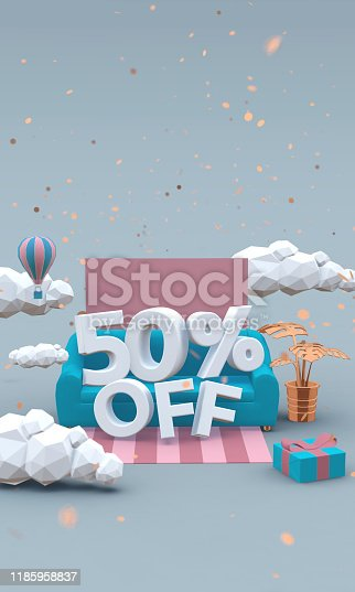 istock 50% fifty percent off 3d illustration in cartoon style. Big sale concept. 1185958837