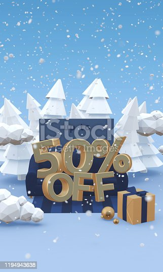 1166441358 istock photo 50 fifty percent off - 3d illustration with copy space in cartoon style. Christmas discount or winter sale concept. 1194943638