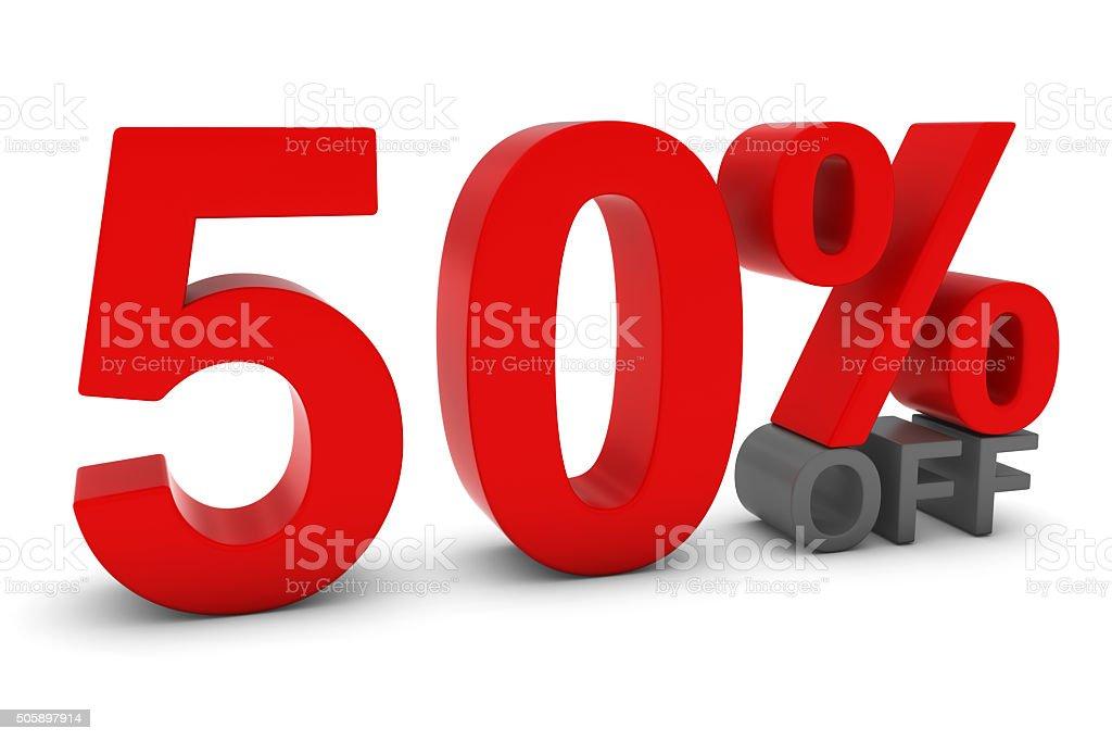 50% de desconto - 50 por cento de desconto em 3D texto vermelho e cinza - foto de acervo