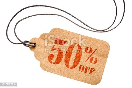 istock fifty percent off discount -  paper price tag 845582714