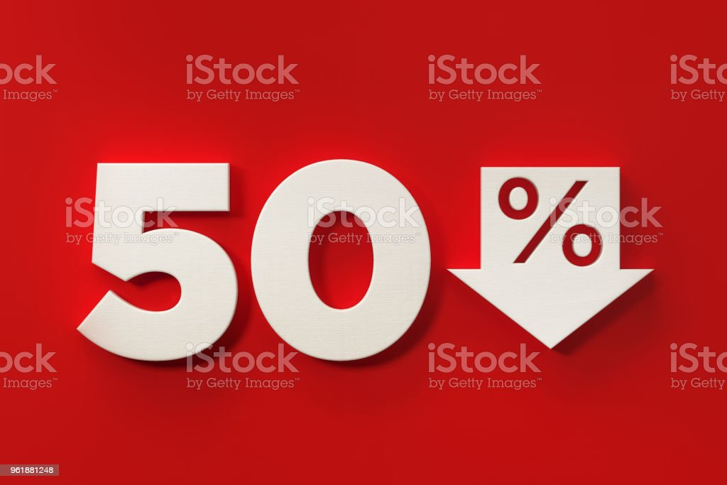 Fifty Percent Off Discount Symbol On Red Background stock photo