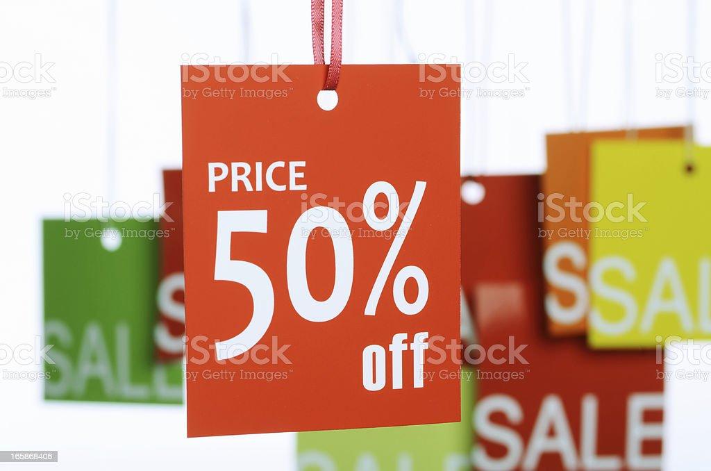 50 por cento de desconto label - foto de acervo