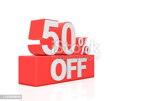 istock Fifty percent off. Sale banner. 3D rendering. 1153699946