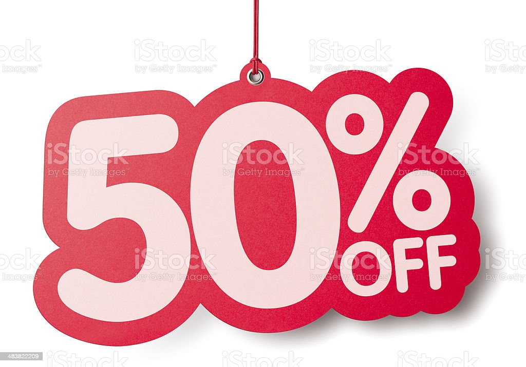 Fifty percent off shaped price label stock photo