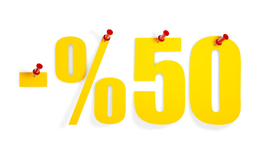 Fifty Percent Off Text on Pin Paper