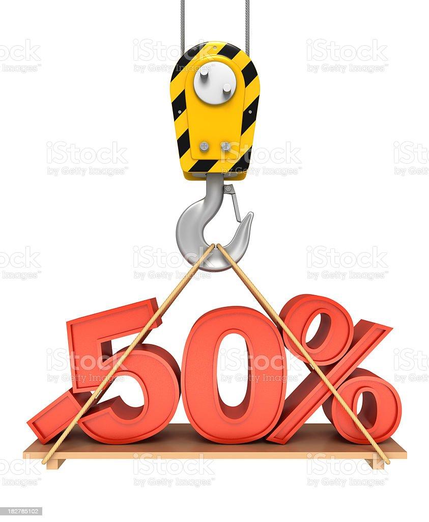 Fifty Percent On Crane Hook royalty-free stock photo