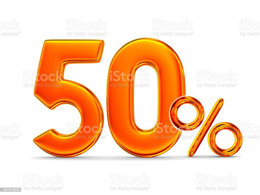 Cinquenta por cento em fundo branco. Ilustração 3D isolada - foto de acervo