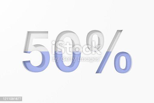 istock Fifty percent text design. 3D rendering. 1211091877