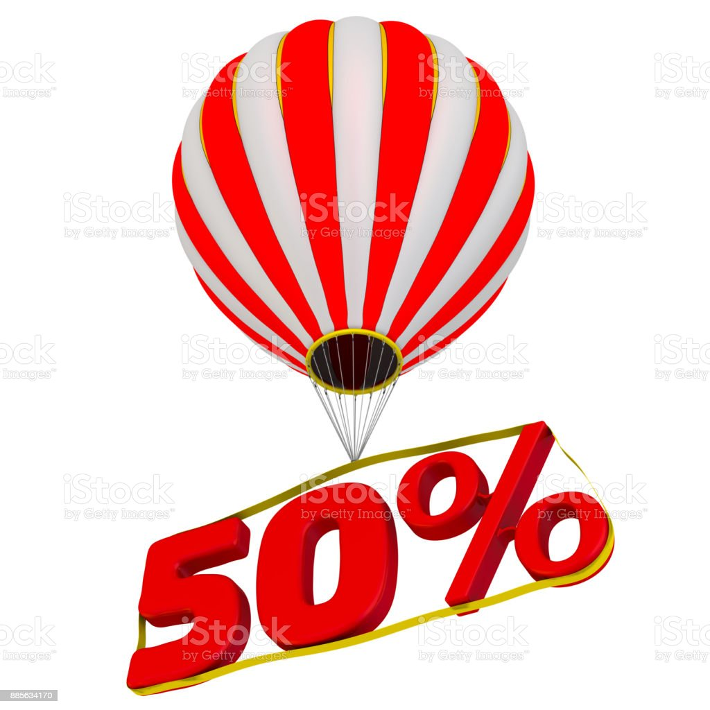 Fifty percentage flies in a hot air balloon stock photo