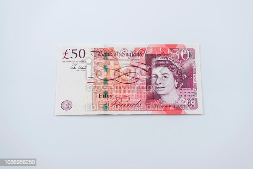 Fifty pound note on the white background.