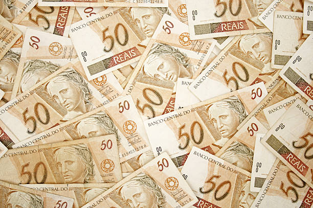 Fifty reais background stock photo