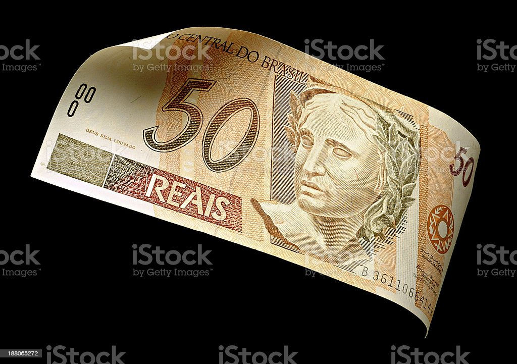 Cinquenta reais (Real),  Brazilian money. stock photo