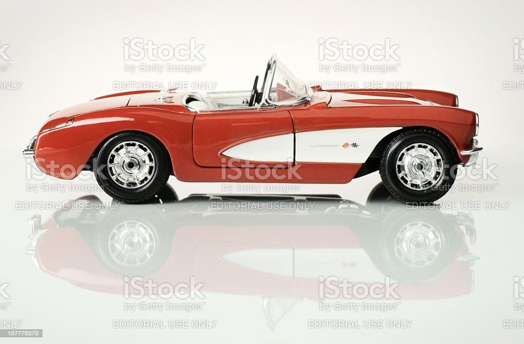 Fifty seven Chevrolet Corvette 1/18th scale model, side view. stock photo