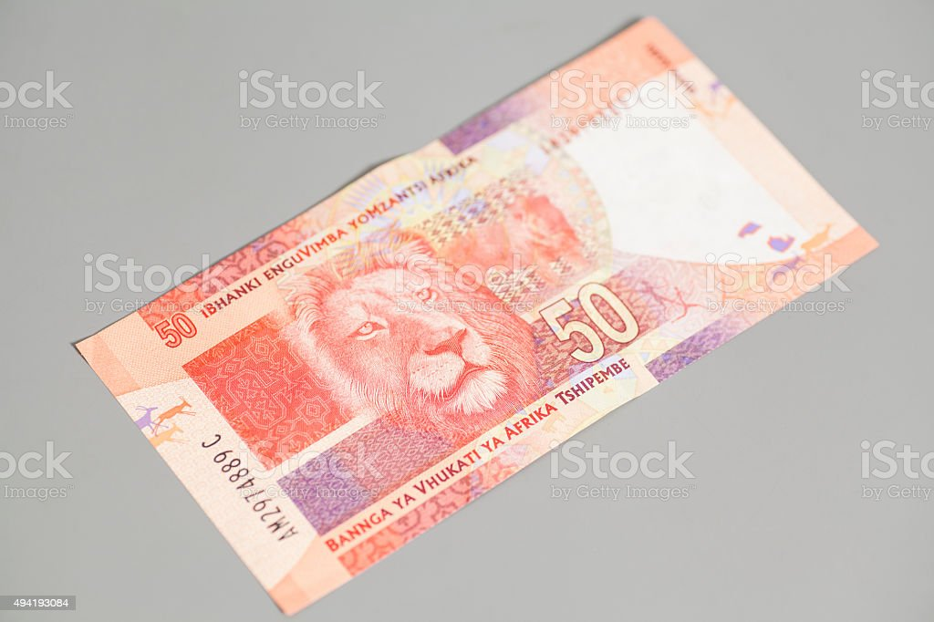 Fifty South African Rand on gray background stock photo