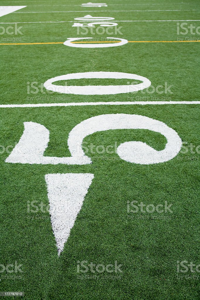 Fifty yard line numbers on a football field royalty-free stock photo