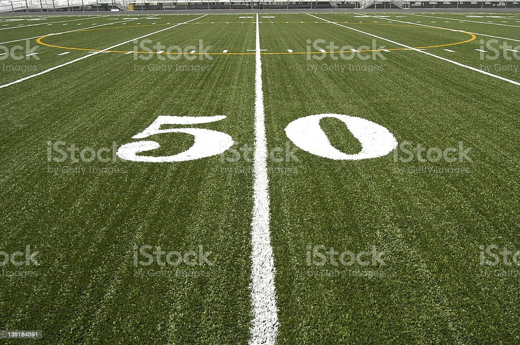 Fifty yard line on a football field. royalty-free stock photo