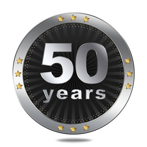 Fifty years button stock photo