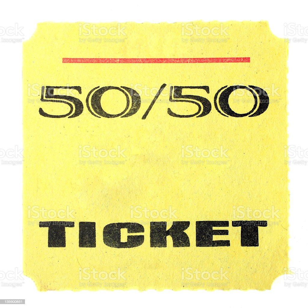 Fifty-Fifty Ticket - White Background royalty-free stock photo