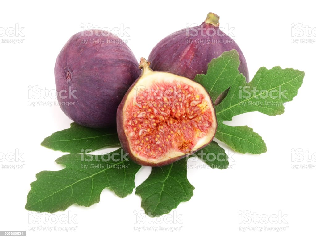 fig fruits with leaves isolated on white background stock photo