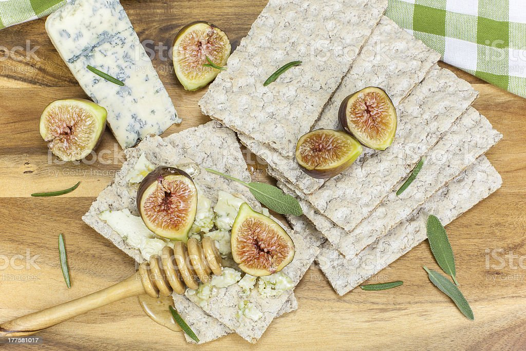 Fig, Gorgonzola and Honey Tartines royalty-free stock photo