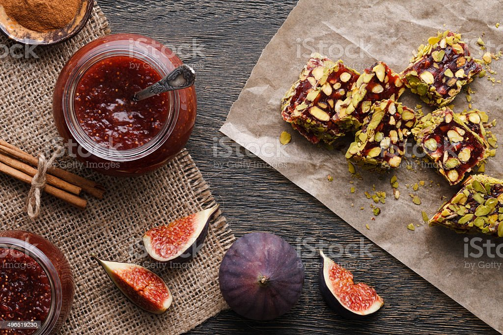 Fig jam and turkish delights stock photo